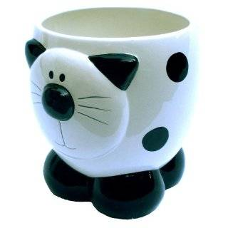 White Kitty Cat Themed Decorative Trash Can For Bathroom Or Bedroom