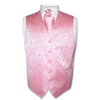 Mens PINK Dress Vest and NeckTie Set for Suit or Tuxedo Clothing