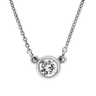 14k White Gold Diamond Bezel Necklace (1/4 cttw, D F Color, I2 I3