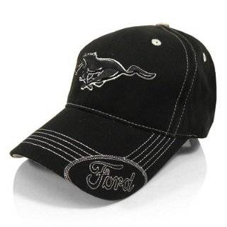 Ford Mustang Black Running Pony Baseball Hat, Official Licensed