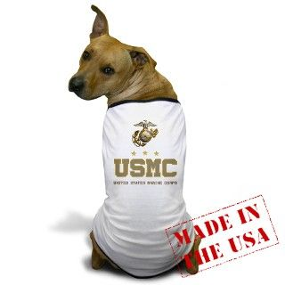 USMC   Eagle Globe Anchor Dog T Shirt by TeamWinchester