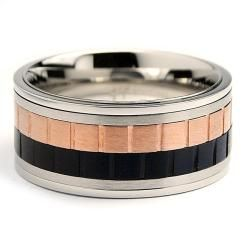 Oliveti Tri color Stainless Steel Mens Spinner Ring (10 mm