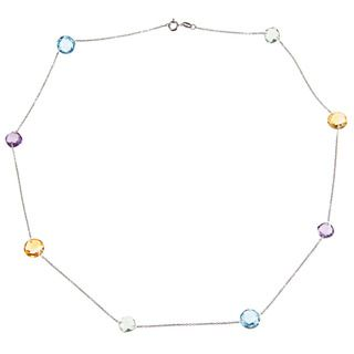 La Preciosa Sterling Silver Multi gemstone Necklace