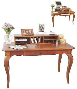 French Provincial Pine Desk with Hutch Top