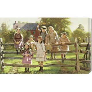 John George Brown Watching The Train Stretched Canvas Art
