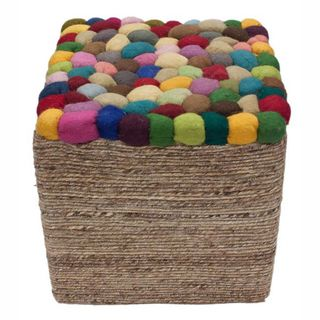 Handmade Casual Living Indian Multi Pebbles Pouf