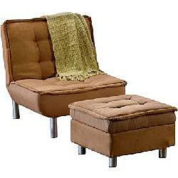 Belinda Brown Microsuede Sofa Bed and Chair Set