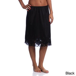 Illusions Womens 24 inch Antistatic Lace Detailed Half Slip