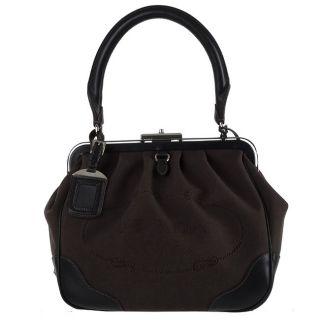 Prada Dark Brown Logo Jacquard Handbag