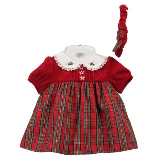 Little Bitty Infant Girls Plaid 3 piece Dress Set