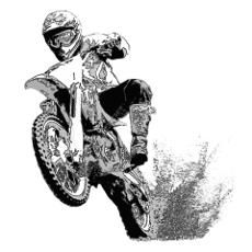 Black/white dirt bike wheeling in mud Poster