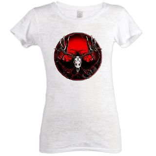 Trophy mule deer flame Womens Burnout Tee