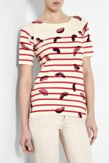 Sonia by Sonia Rykiel  Lip Print Knitted Short Sleeve Top by Sonia by
