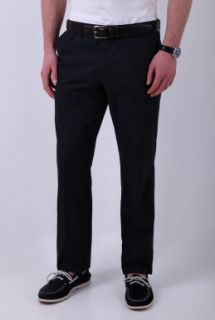 Navy Slim Fit Brushed Cotton Chino by Hugo Boss Black   Navy   Buy Trousers Online