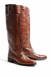 Burberry Shoes & Accessories  Walnut Brown Drayton Flat Riding Boots by Burberry Shoes & Accessories