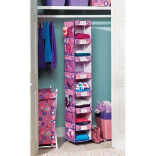 Kidz Flower Print 7 Shelf Hanging Closet Organizer
