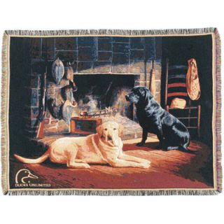 Ducks Unlimited Waiting at Crow Creek Woven Throw