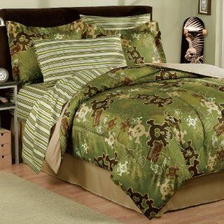 Brown Skull Gothic Camo Stripe Twin Comforter Set (6pc Bed in a Bag