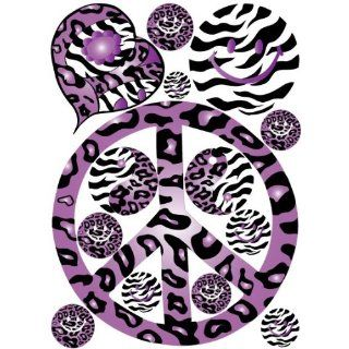 Sixties Theme Purple Leopard / Cheetah and Zebra Print Peace Sign Wall