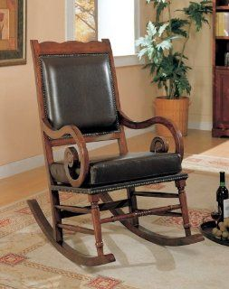 Coaster Traditional Rocking Chair, Nailhead Trim Style