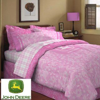 Deere Pink Floral Camo Reversible Comforter Pink Queen: Home & Kitchen