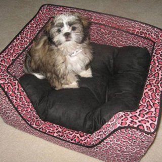Snoozer Luxury Square Pet Bed, Medium, Bobcat Pink/Black