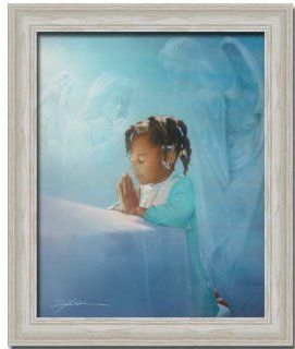 African American Girl Praying Angel Art Print Framed