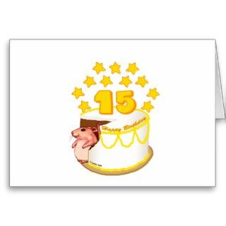 15 Year Old Birthday Cake Mouse Greeting Card