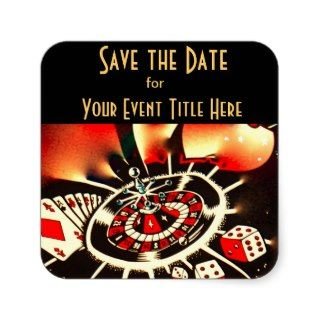 Save the DAte Casino Theme Event Square Sticker