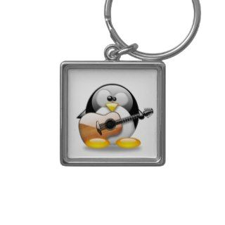 Acoustic Guitar Tux (Linux Tux) Key Chain