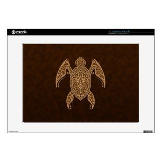 Intricate Brown Sea Turtle Decal For 15 Laptop