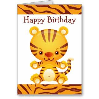 Cartoon Tiger with Tiger Print Happy Birthday Greeting Card