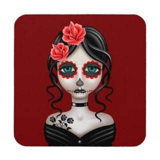 Sad Day of the Dead Girl on Red Drink Coaster