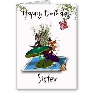 Sister Birthday Card   Cute Gothic Fairies Springi