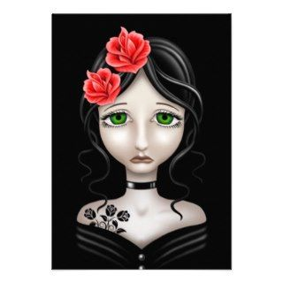 Sad Girl with Red Roses on Black Personalized Invitations