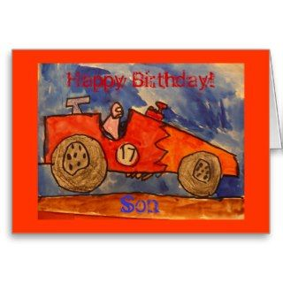 Happy Birthday! Son, kid drawn race car Card