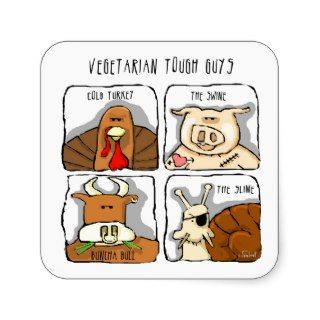 Funny Vegetarian Tough Guys, Animals Sticker