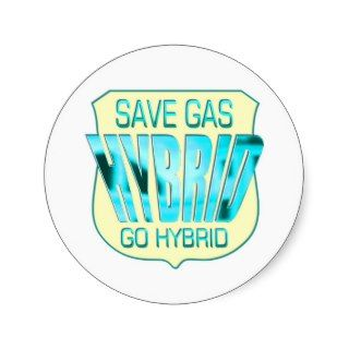 Green Hybrid Car Round Sticker