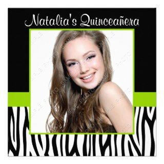 Zebra Lime Green Photo Quinceanera Invitations