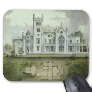 Vintage Architecture, French Chateau Floor Plans Mouse Pad