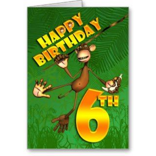 Happy 6th Birthday Monkey Banana Greeting Cards