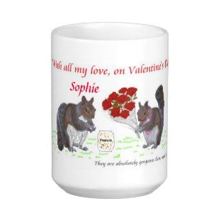 Valentines Squirrel Couple.Change name Coffee Mugs
