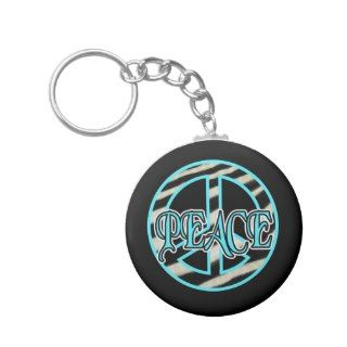 Zebra Print Peace Sign Key Chains