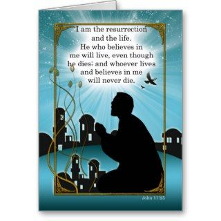 Religious Easter Card Man Praying John Scripture