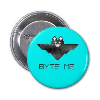Bit Byte Me Cute Vampire Bat Pixel Art Pin