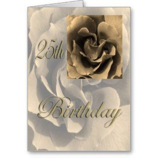 Sepia Rose Happy 25th Birthday Cards