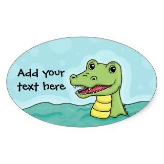 Happy Crocodile customisable Oval Stickers