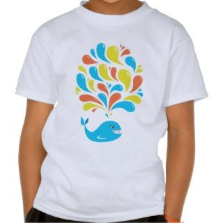 Colorful Splash Happy Cartoon Whale Kids Tshirt