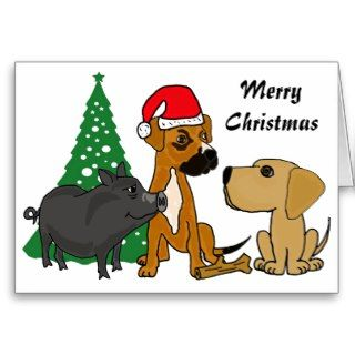 BA  Dogs and Pig Christmas Card