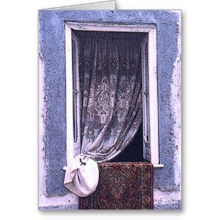 LACE CURTAIN THROUGH WINDOW CARD